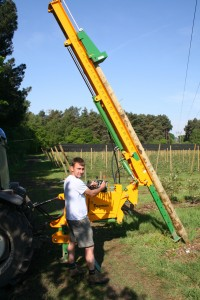Drives posts into the ground from 30 degrees angle.